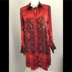 Zara Red Leopard and Flower Print Tunic Style